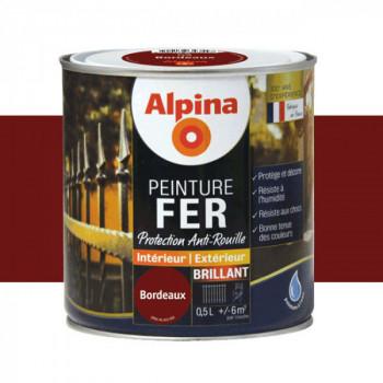 Peinture alpina antirouille spéciale fer bordeaux brillant 0,5L