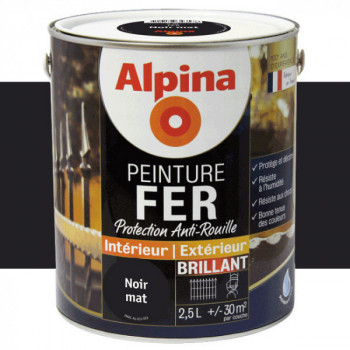 Peinture alpina antirouille spéciale fer noir profond brillant 2,5L