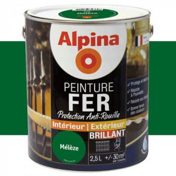 Peinture alpina antirouille spéciale fer vert mélèze brillant 2,5L