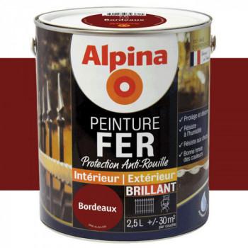 Peinture alpina antirouille spéciale fer bordeaux brillant 2,5L