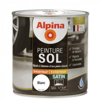 Peinture alpina spéciale sol blanc satin 0,5L
