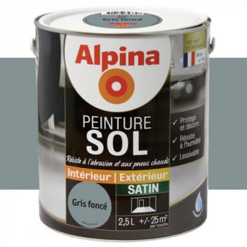 Peinture alpina spéciale sol gris foncé satin 2,5L