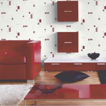 Papier peint intissé uni blanc carré rouge
