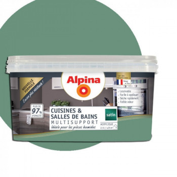 Peinture alpina cuisine & salle de bain eucalyptus satin  2,5L