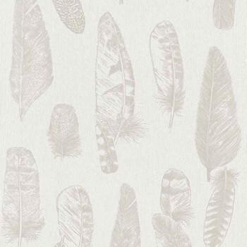 Papier peint intissé lessivable plumes beige