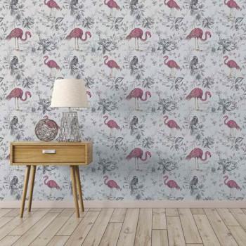 Papier peint intissé lessivable Flamant rose