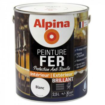 Peinture alpina antirouille spéciale fer blanc brillant 2,5L