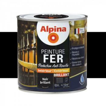 Peinture alpina antirouille spéciale fer noir brillant 0,5L