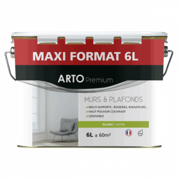 Peinture Arto Premium Murs et Plafonds Blanc Satin 6L