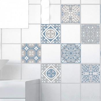 Décoration carrelage imitation carreaux de ciment bleu