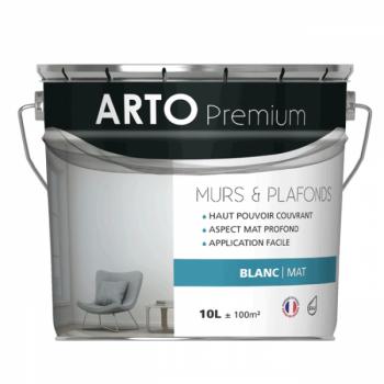 Peinture Arto Premium Murs et Plafonds Blanc Mat 10L