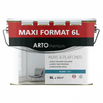Peinture Arto Premium Murs et Plafonds Blanc Mat 6L
