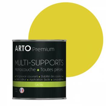 Peinture arto premium multi-supports murs, plafonds, boiseries, plinthes et radiateurs colza satin 0,5 L