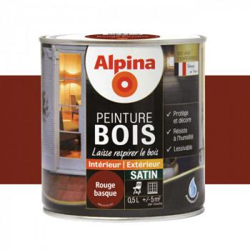 Peinture Alpina spéciale bois satin rouge brique