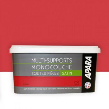 Peinture Apara multi-supports Murs, plafonds, boiseries, plinthes... rouge intense satin 2,5L