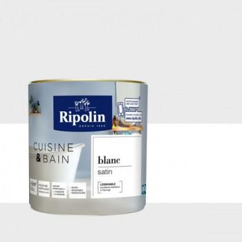Peinture Ripolin multi-supports Cuisine & bain blanc satin 0,5L