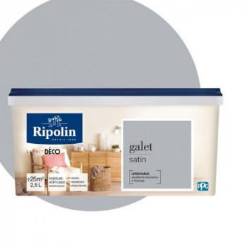 Peinture Ripolin Esprit Déco Murs, plafonds, boiseries et radiateurs gris galet satin 2,5L
