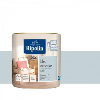 Peinture Ripolin Esprit Déco Murs, plafonds, boiseries et radiateurs bleu cupcake satin 0,5L