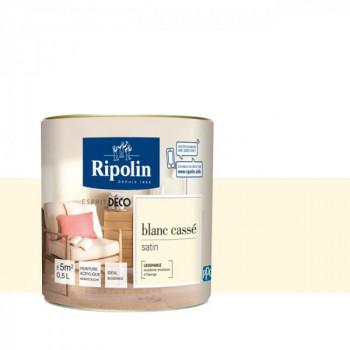 Peinture Ripolin Esprit Déco Murs, plafonds, boiseries et radiateurs blanc cassé satin 0,5L