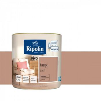 Peinture Ripolin Esprit Déco Murs, plafonds, boiseries et radiateurs taupe satin 0,5L