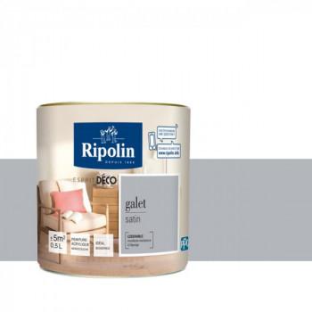 Peinture Ripolin Esprit Déco Murs, plafonds, boiseries et radiateurs gris galet satin 0,5L