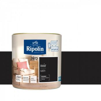 Peinture Ripolin Esprit Déco Murs, plafonds, boiseries et radiateurs noir satin 0,5L
