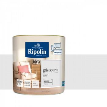 Peinture Ripolin Esprit Déco Murs, plafonds, boiseries et radiateurs gris souris satin 0,5L