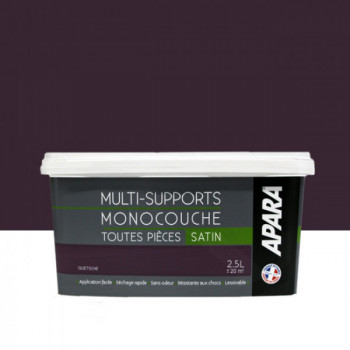 Peinture Apara multi-supports Murs, plafonds, boiseries, plinthes...  violet quetsche satin  2,5L