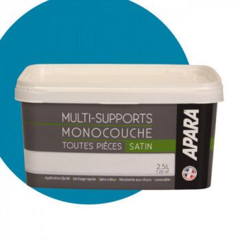 Peinture Apara multi-supports Murs, plafonds, boiseries, plinthes... bleu pacific satin 2,5L