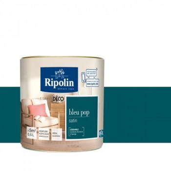 Peinture Ripolin Esprit Déco Murs, plafonds, boiseries et radiateurs bleu pop satin 0,5L