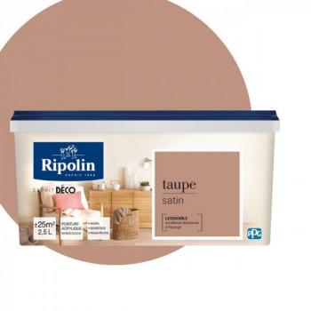 Peinture Ripolin Esprit Déco Murs, plafonds, boiseries et radiateurs taupe satin 2,5L
