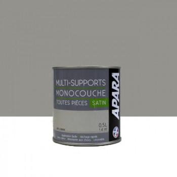Peinture Apara multi-supports  Murs, plafonds, boiseries, plinthes...  gris cendré satin 0,5L