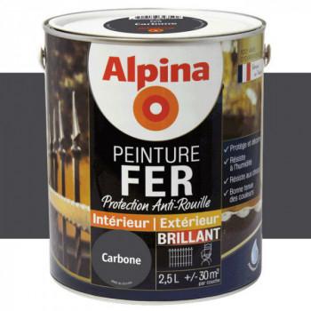 Peinture alpina antirouille spéciale fer carbonne brillant 2,5L