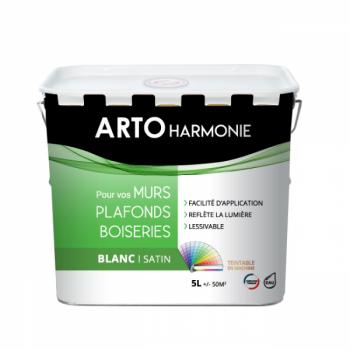 Peinture Arto Harmonie Murs, plafonds et boiserie intérieur blanc satin 5L