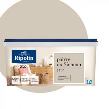 Peinture Ripolin Esprit Déco Murs, plafonds, boiseries et radiateurs poivre de sichuan satin 2,5L