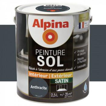 Peinture alpina spéciale sol anthracite satin 2,5L