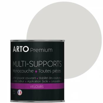 Peinture arto premium multi - supports murs, plafonds, boiseries, plinthes et radiateurs gris clair velours 0,5 L