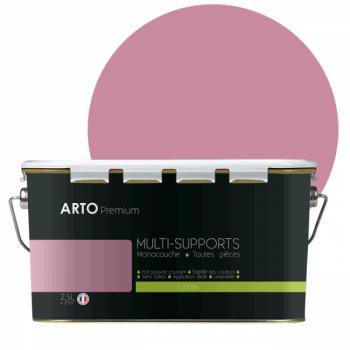 Peinture arto premium multi - supports murs, plafonds, boiseries, plinthes et radiateurs rose barbe à papa  satin 2,5 L