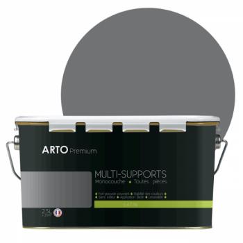 Peinture arto premium multi - supports murs, plafonds, boiseries, plinthes et radiateurs gris acier satin  2,5 L