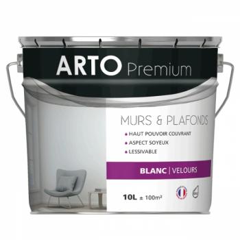 Peinture Arto Premium Murs et Plafonds Blanc Velours 10L