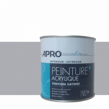 Peinture Apro multi-supports  Murs, plafonds, boiseries, plinthes…  gris béton satin 0,5 L