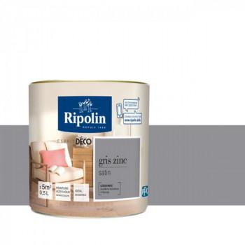 Peinture Ripolin Esprit Déco Murs, plafonds, boiseries et radiateurs gris zinc satin 0,5L