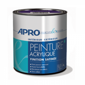 Peinture Apro multi-supports  Murs, plafonds, boiseries, plinthes… blanc satin 0,5 L