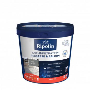 Peinture Ripolin anti-infiltration dip etanch terrasse et balcon gris béton 5 L