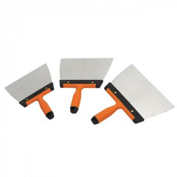 Lot 3 couteaux à enduire inox
