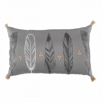 Coussin rectangle Plumes Gris et Or