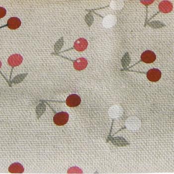 Tissu toile liberty cerises lin grisé 150cm
