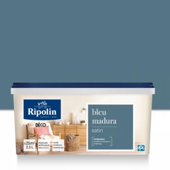 Peinture Ripolin Esprit Déco Murs, plafonds, boiseries et radiateurs bleu madura satin 2,5L