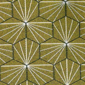Tissu jacquard géométrique jaune 140 cm