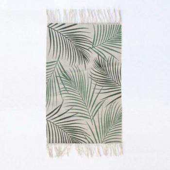 Tapis beige à franges feuille palmier 50 x 80 cm